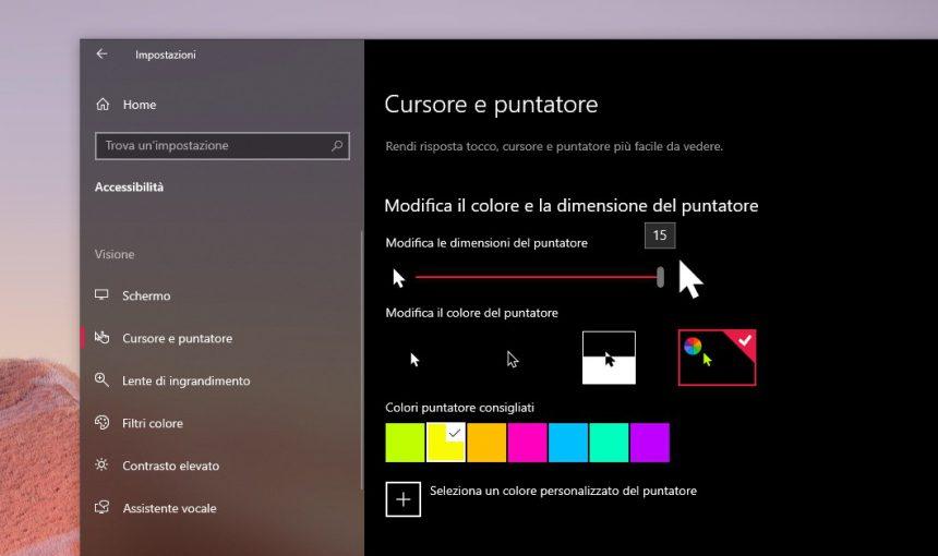 Impostazioni cursore e puntatore di Windows 10