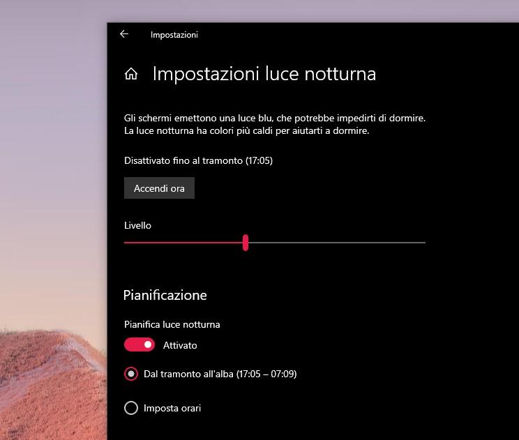 Impostazioni luce notturna in Windows 10