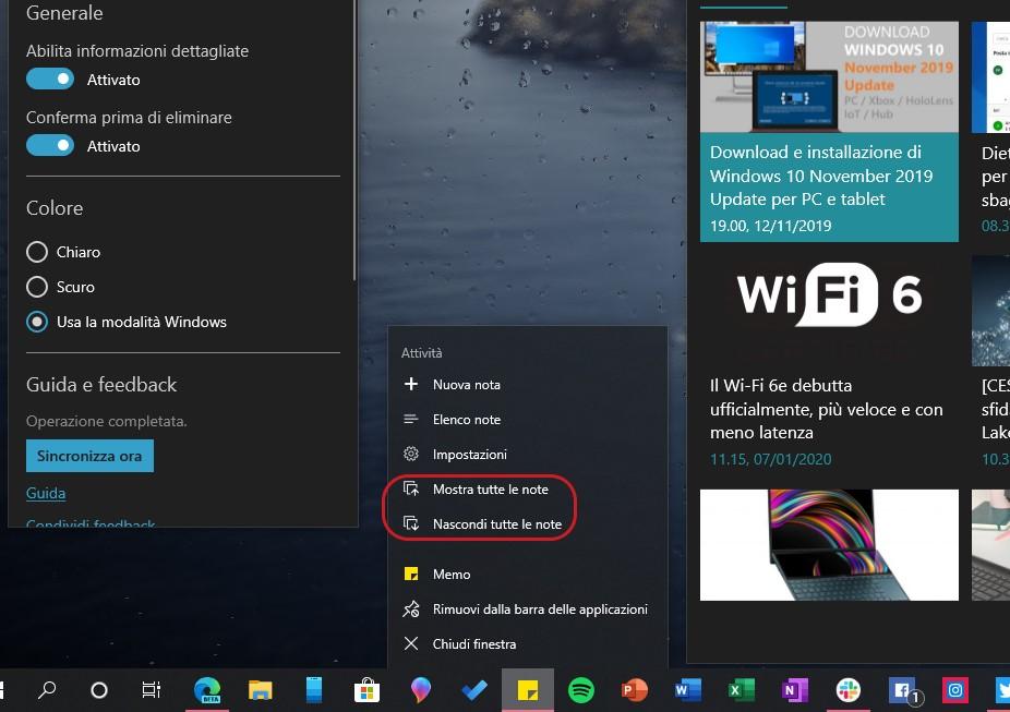 Memo per Windows 10 opzioni mostra e nascondi tutte le note