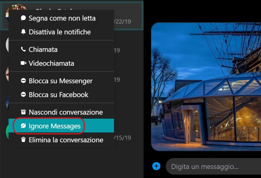 Messenger per Windows 10 opzione ignora messaggi