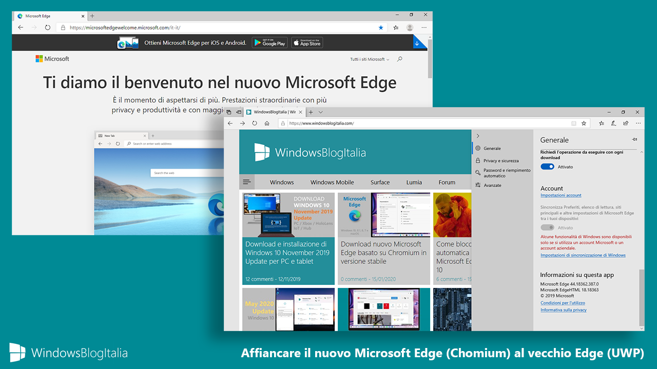 Microsoft Edge affiancare vecchia e nuova versione