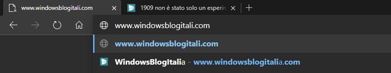 Microsoft Edge basato su Chromium URL suggeriti correzione