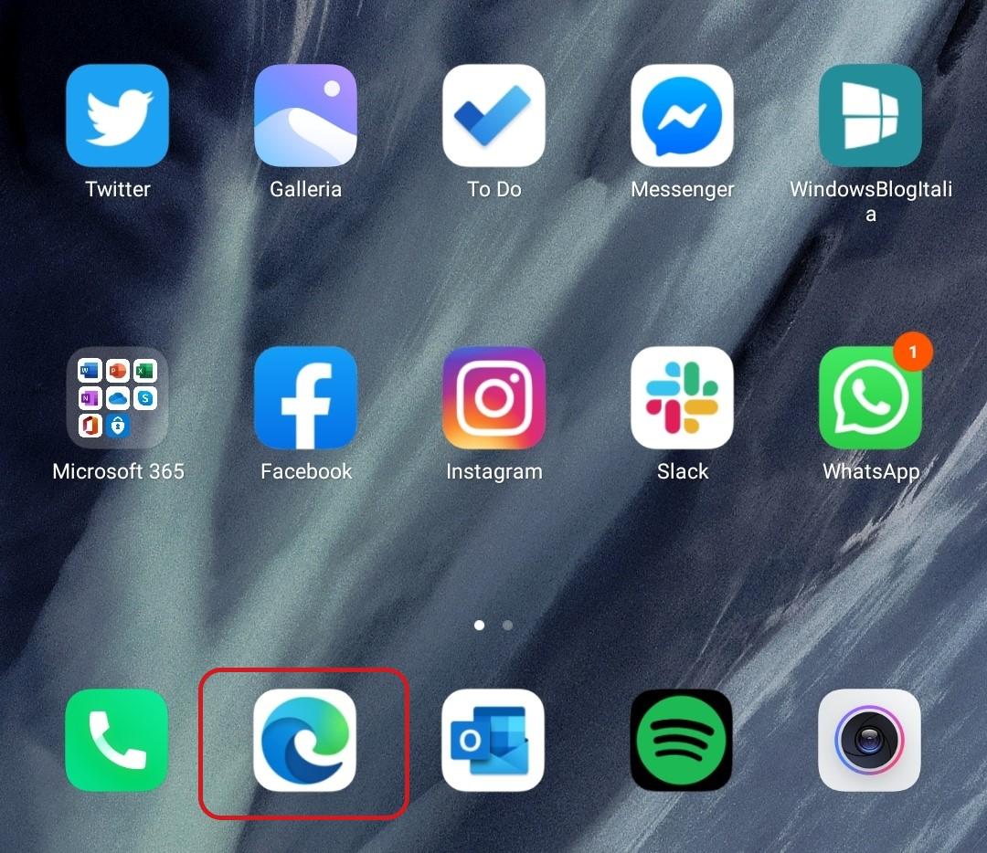 Microsoft Edge per Android nuova icona