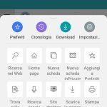 Microsoft Edge per Android nuova interfaccia grafica menu