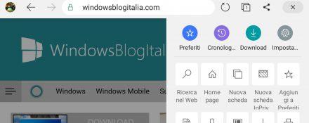 Microsoft Edge per Android nuova interfaccia grafica menu orizzontale