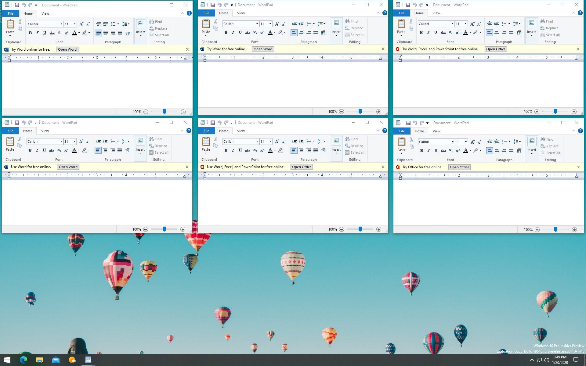 Microsoft WordPad pubblicità per Office Online