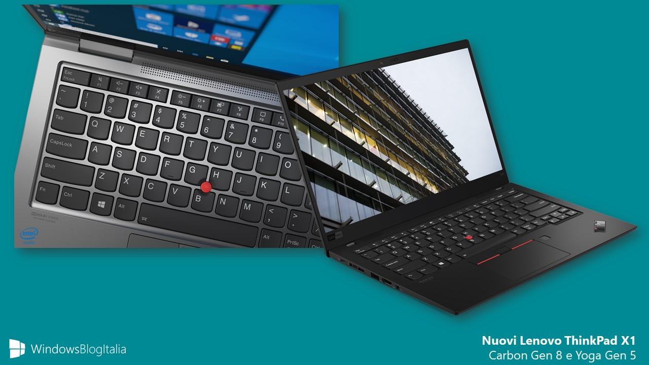 Nuovi Lenovo ThinkPad X1 Carbon e Yoga 2020