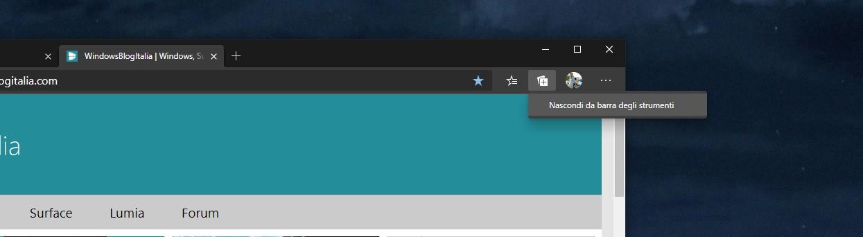 Opzione nascondi pulsante Raccolte da Microsoft Edge