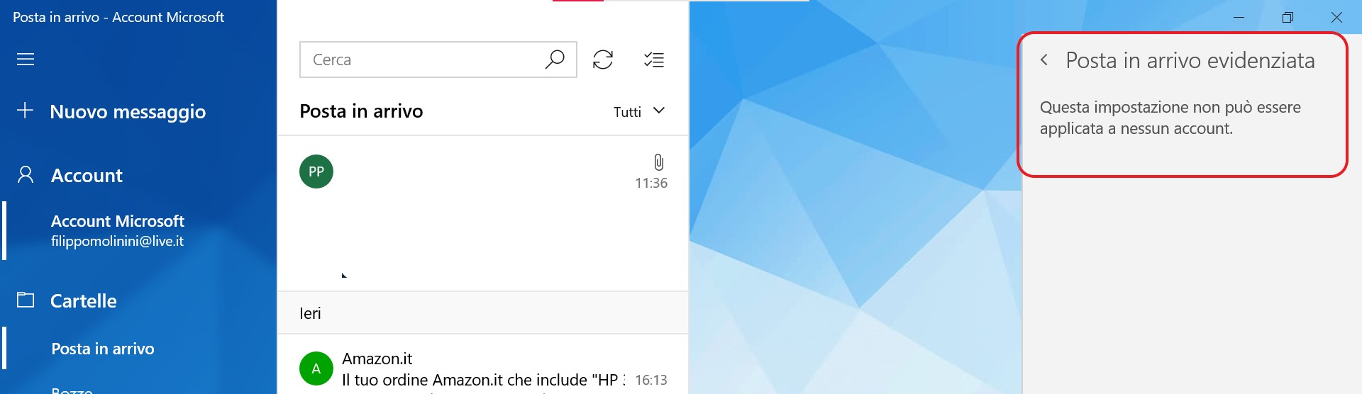 Posta e Calendario per Windows addio opzione posta in arrivo evidenziata