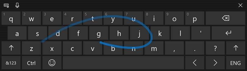 Shape writing in Windows 10