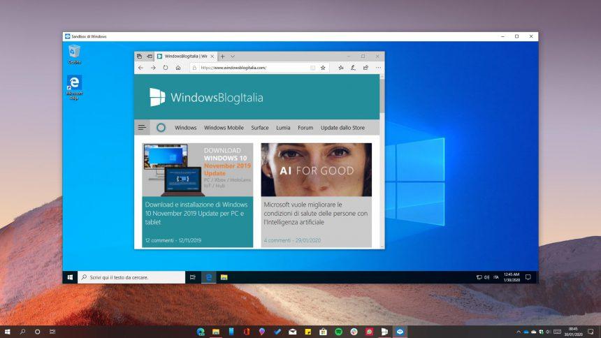 Windows Sandbox con sito WindowsBlogItalia