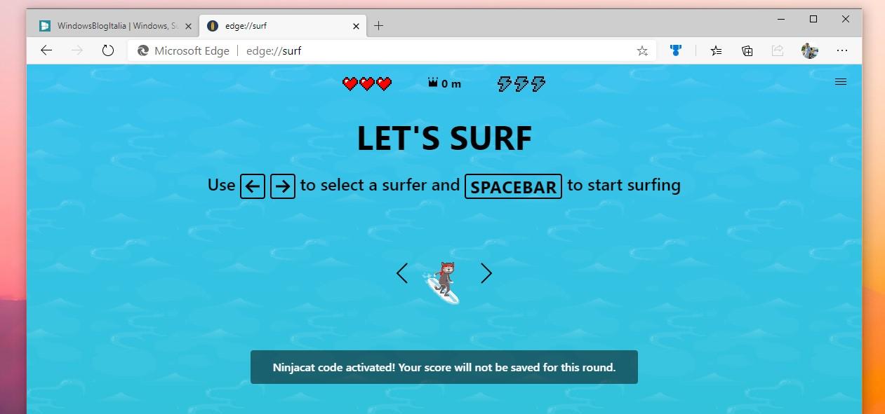 Microsoft Edge Surf codice segreto per Ninja Cat