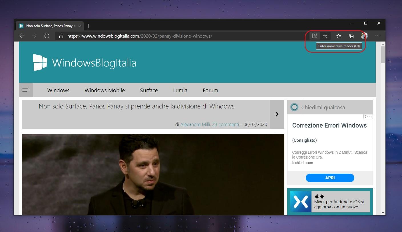 Microsoft Edge basato su Chromium scorciatoia da tastiera per modalità lettura