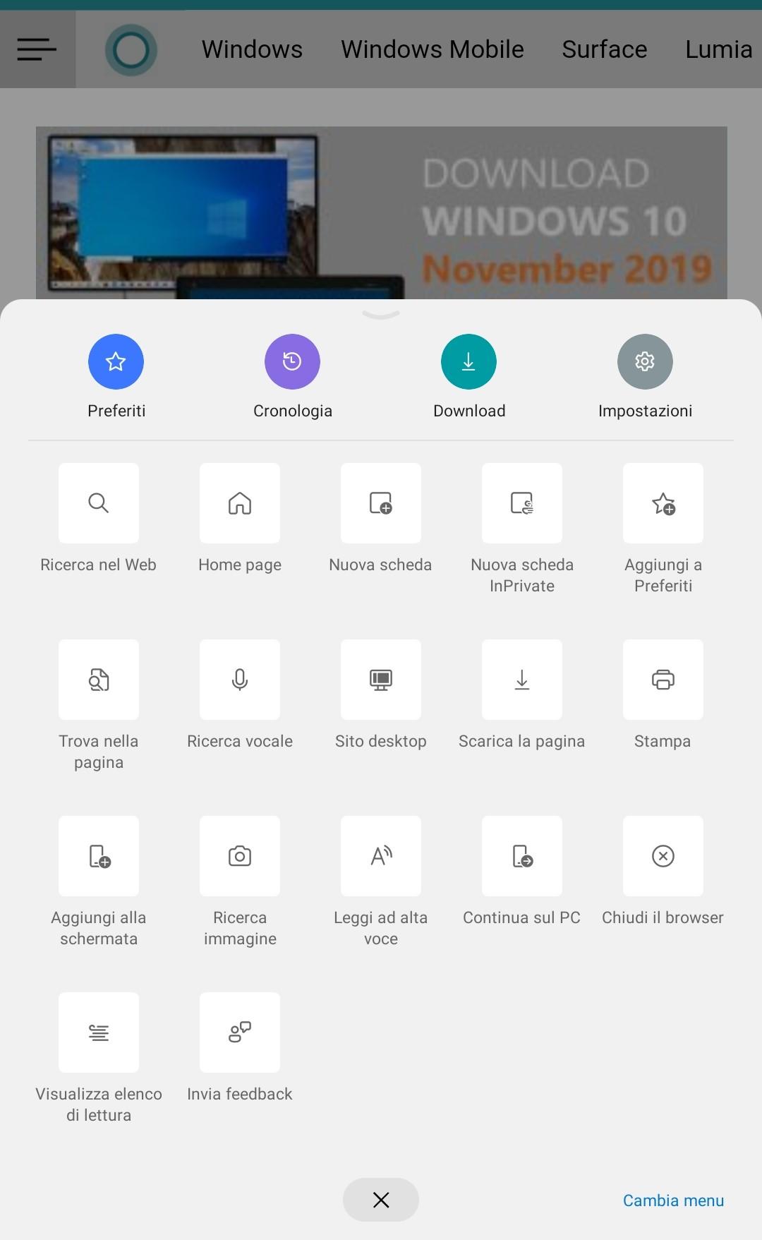 Microsoft Edge beta per Android nuova iconografia in stile Fluent Design
