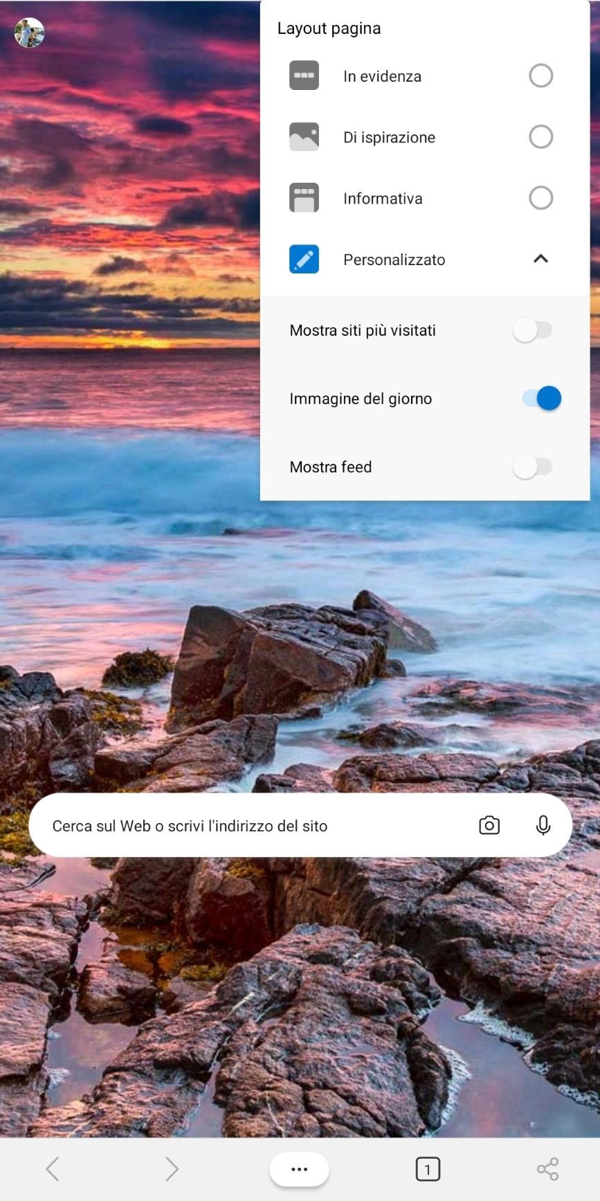 Microsoft Edge beta per Android personalizzazione pagina nuova scheda