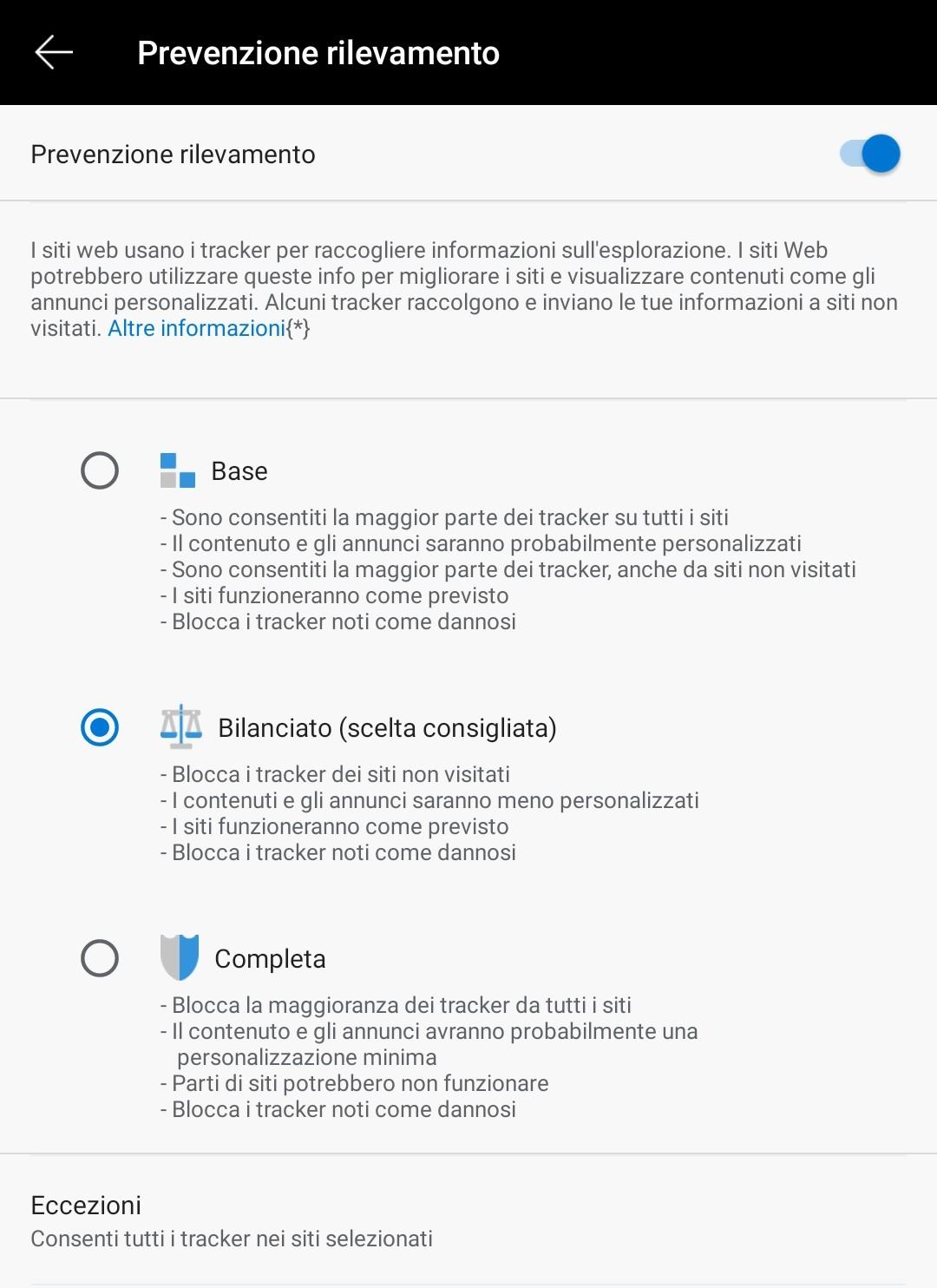 Microsoft Edge beta per Android protezione rilevamento