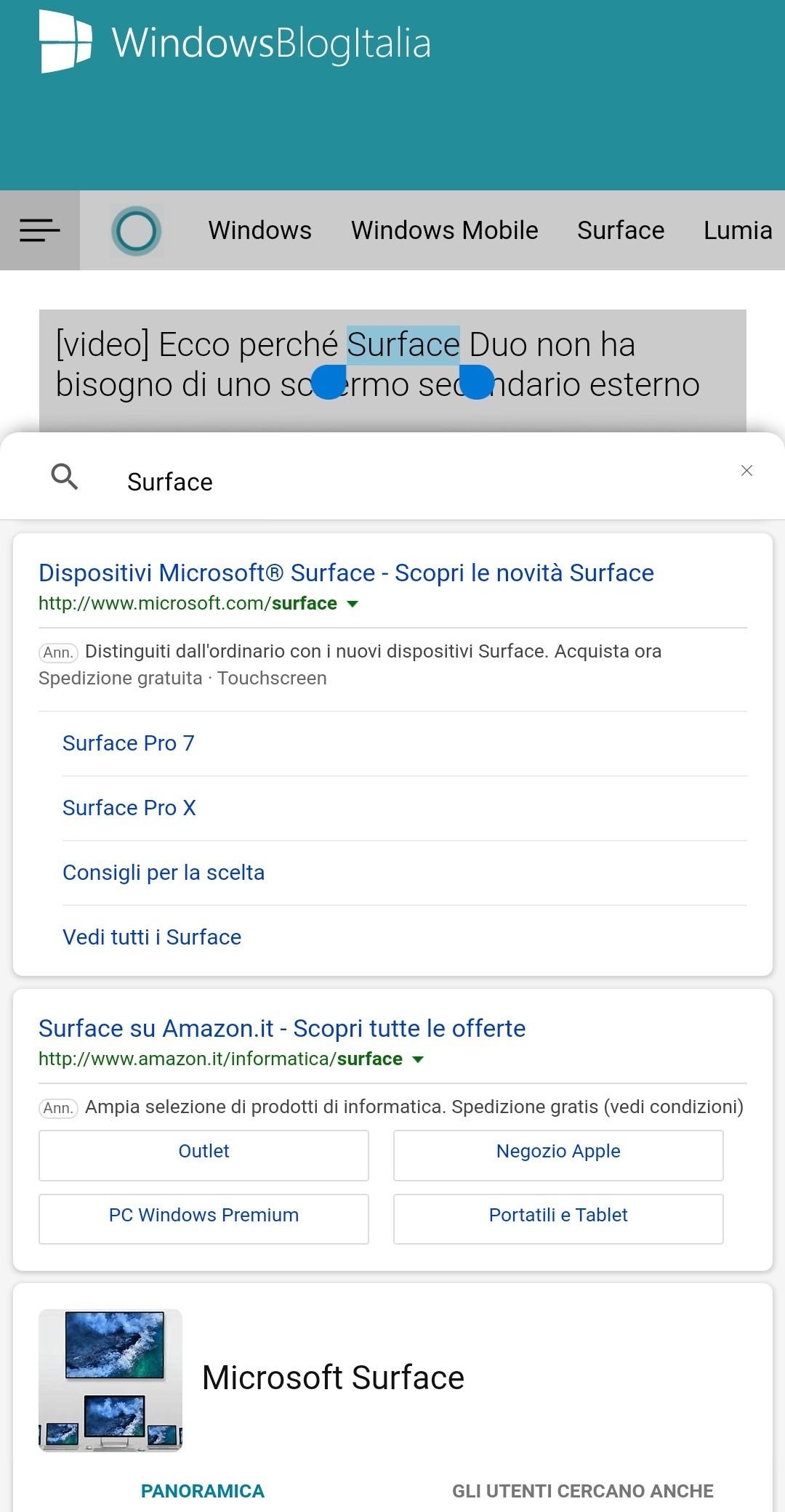 Microsoft Edge beta per Android ricerca contestuale