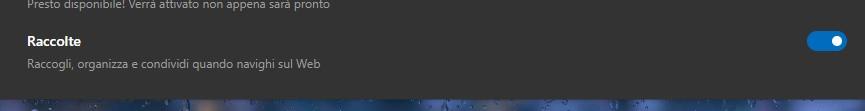 Microsoft Edge sincronizzazione Raccolte