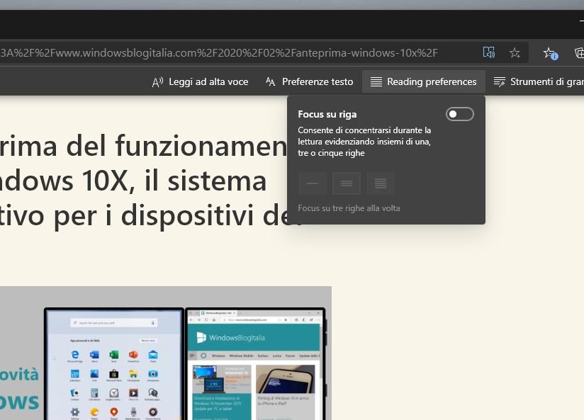 Microsoft Edge strumento Lettura immersiva migliorato nel focus su righe