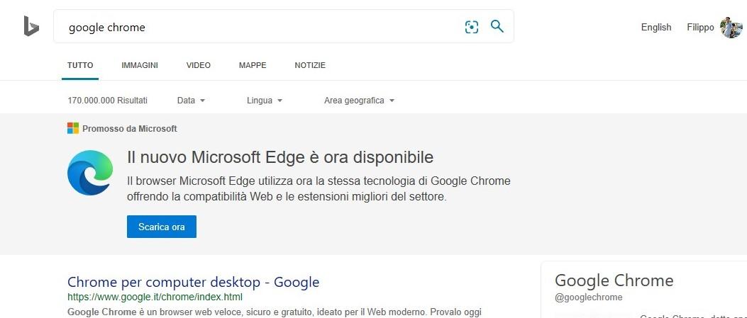 Microsoft promuove nuovo Edge su Bing in italiano