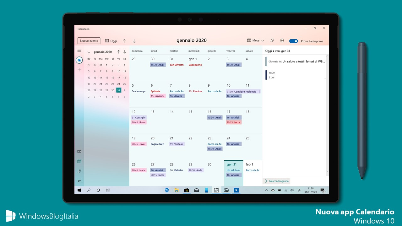 Nuova app Calendario di Windows 10