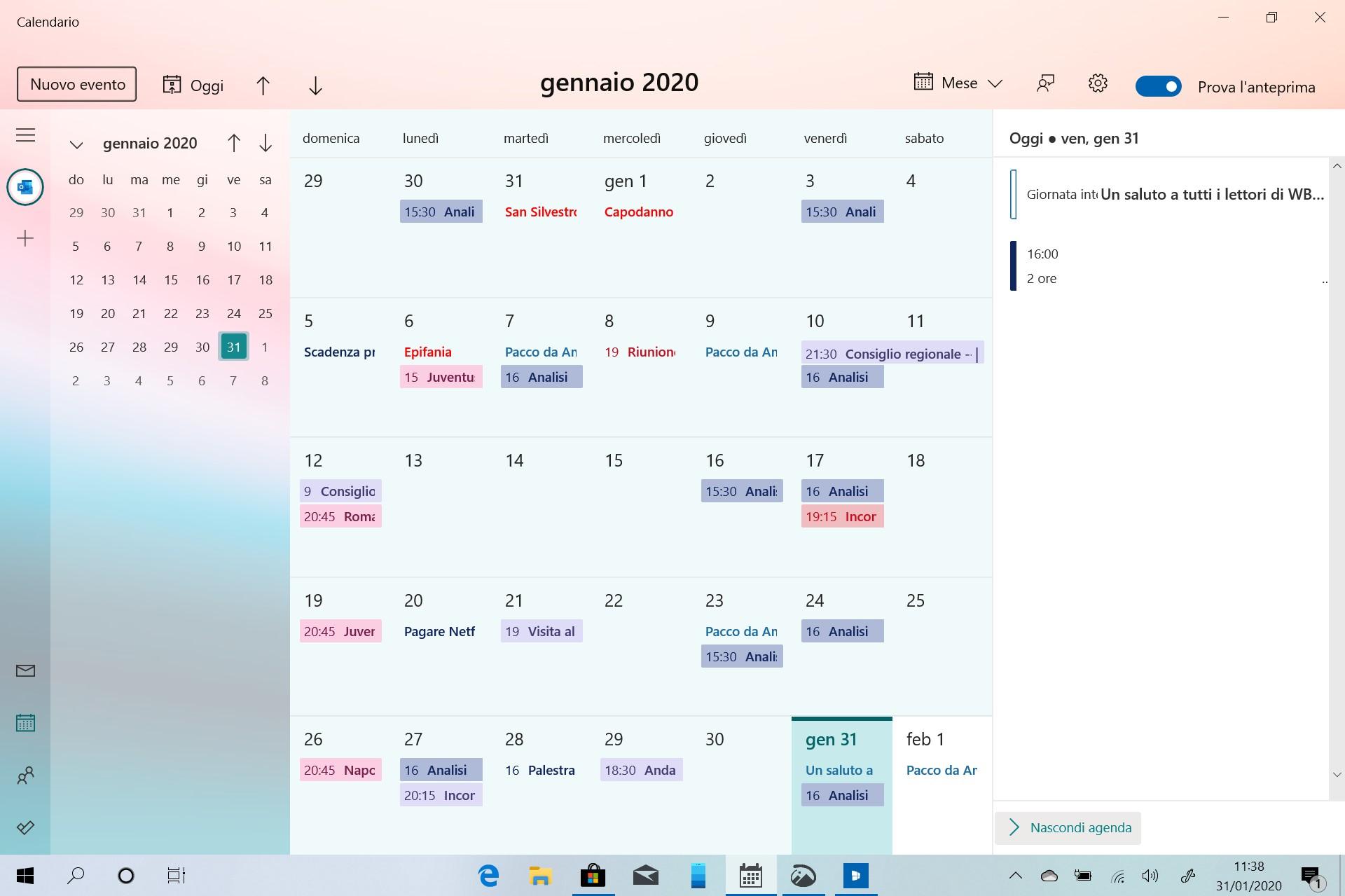 Nuova esperienza Calendario su Windows 10 pagina principale con agenda