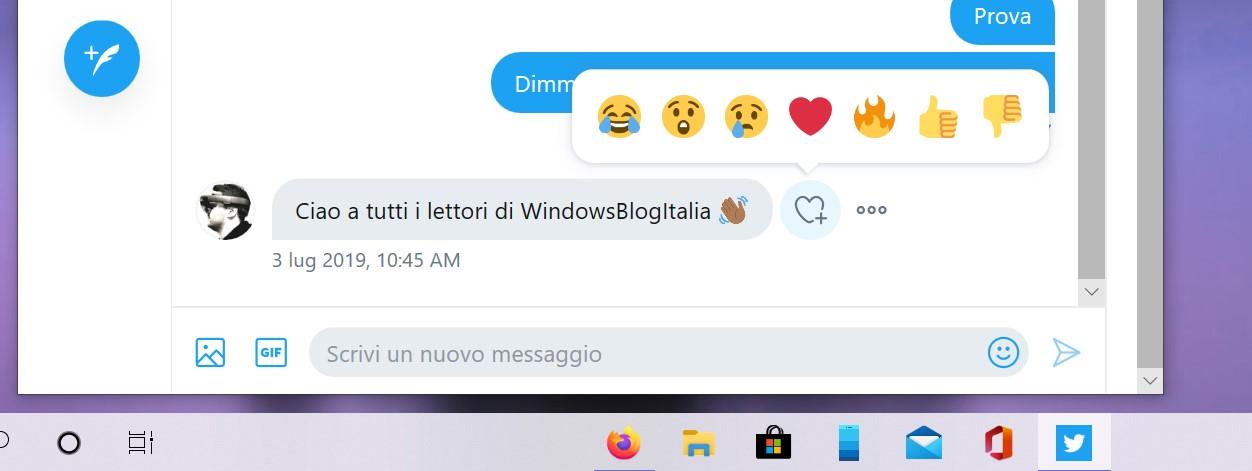 Twitter PWA per Windows reazioni ai messaggi direct
