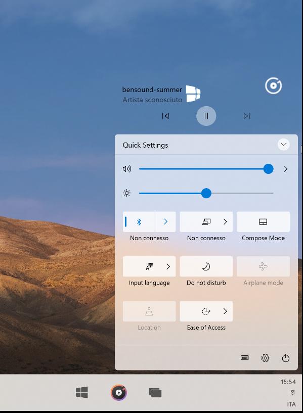 Windows 10X widget riproduzione musicale