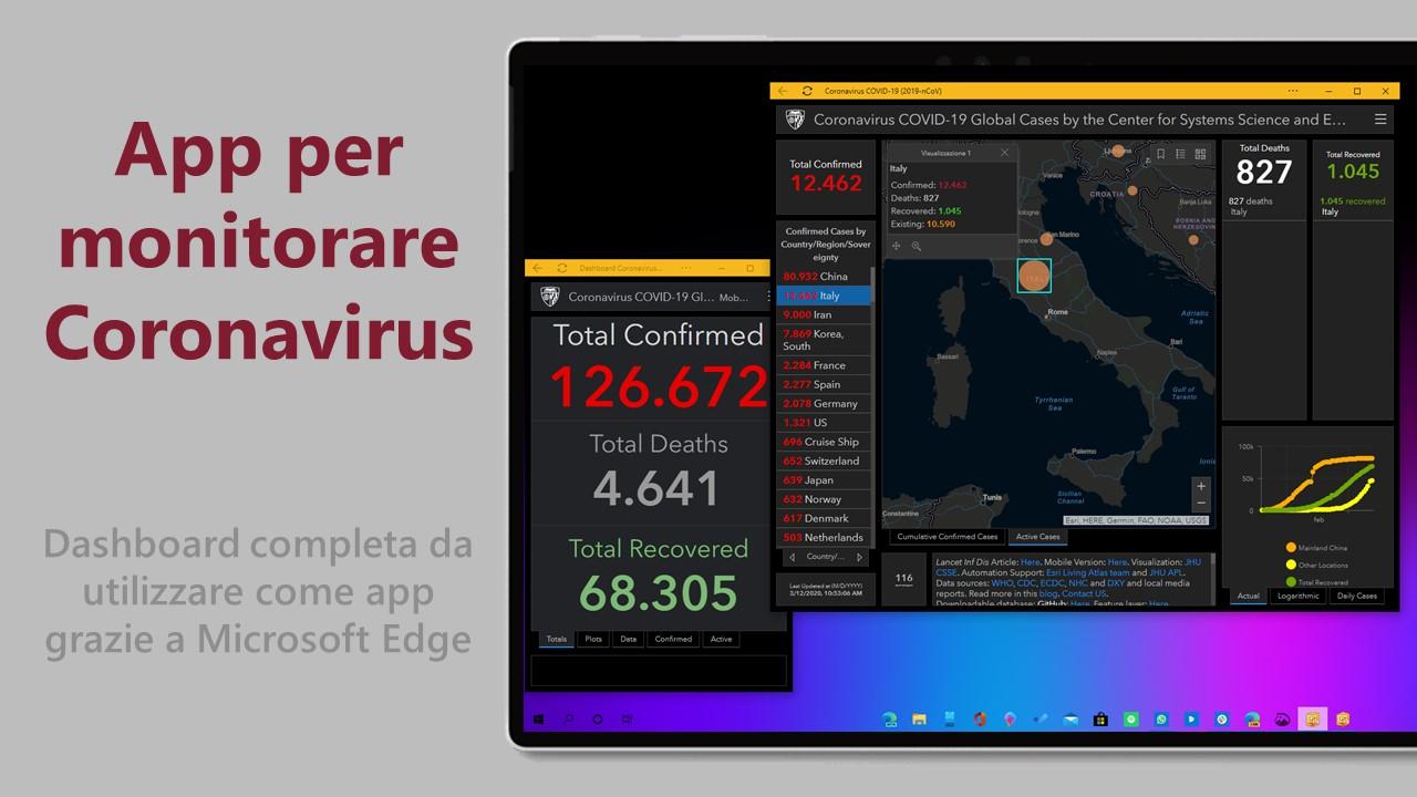 App per monitorare Coronavirus in Microsoft Edge