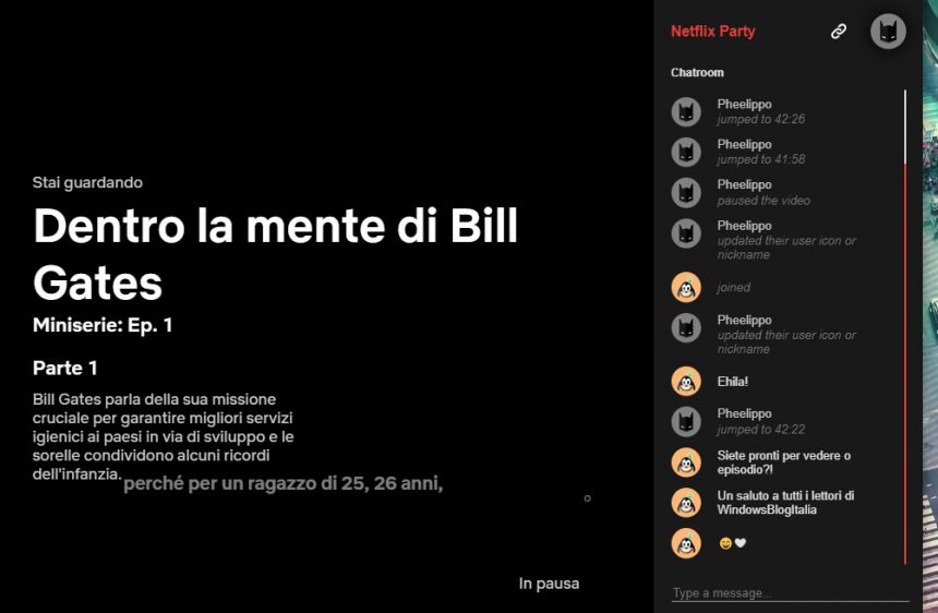 Chat di Netflix Party