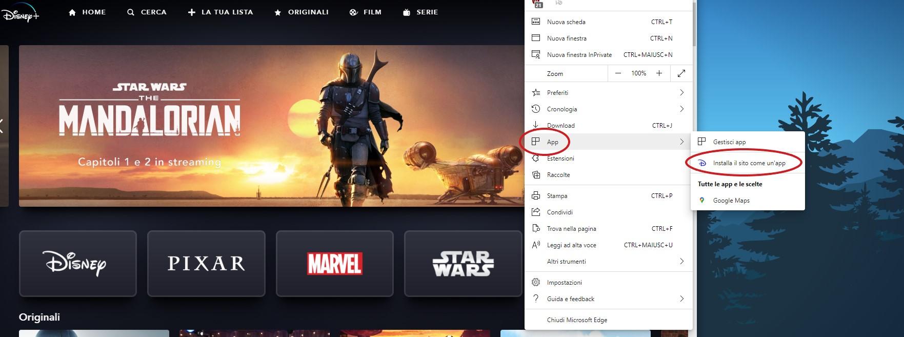 Disney+ in Microsoft Edge opzione per installare il sito come app
