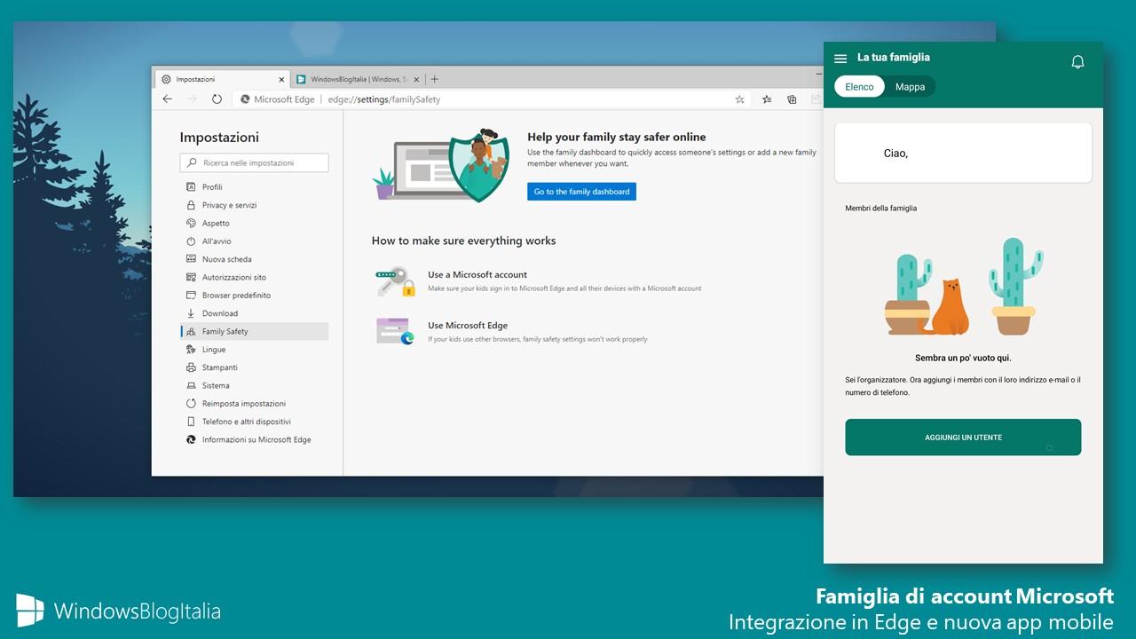 Famiglia di account Microsoft integrato in Edge e nuova app