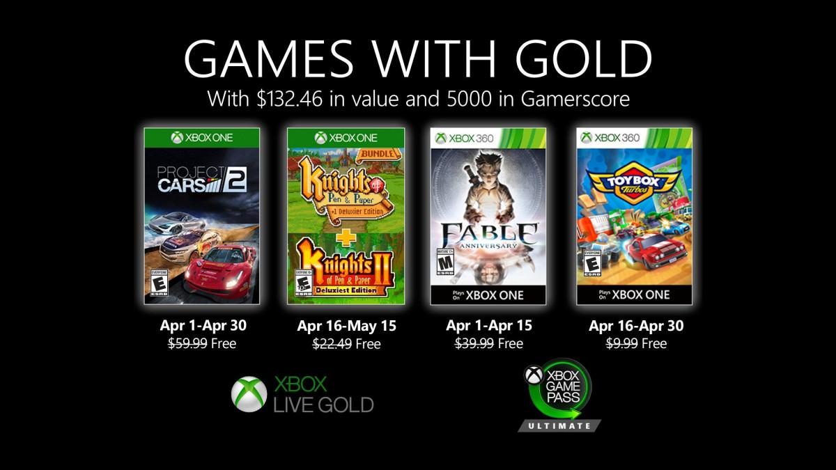 Giochi Xbox Live Gold aprile 2020