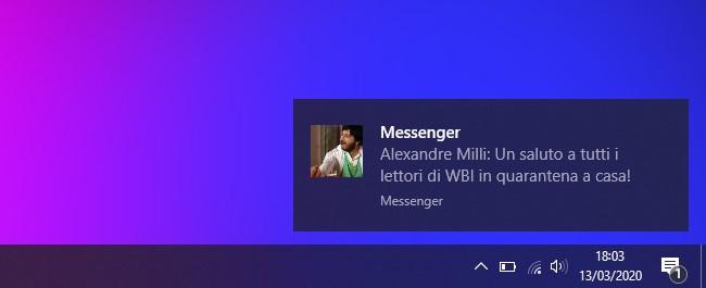 Messenger per Windows notifiche dell'app