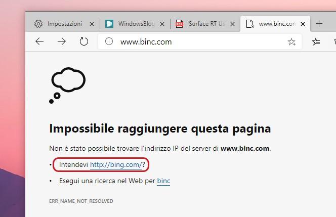 Microsoft Edge URL suggerito dopo errore