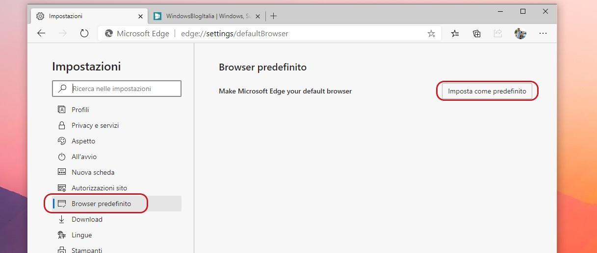 Microsoft Edge impostazione browser predefinito