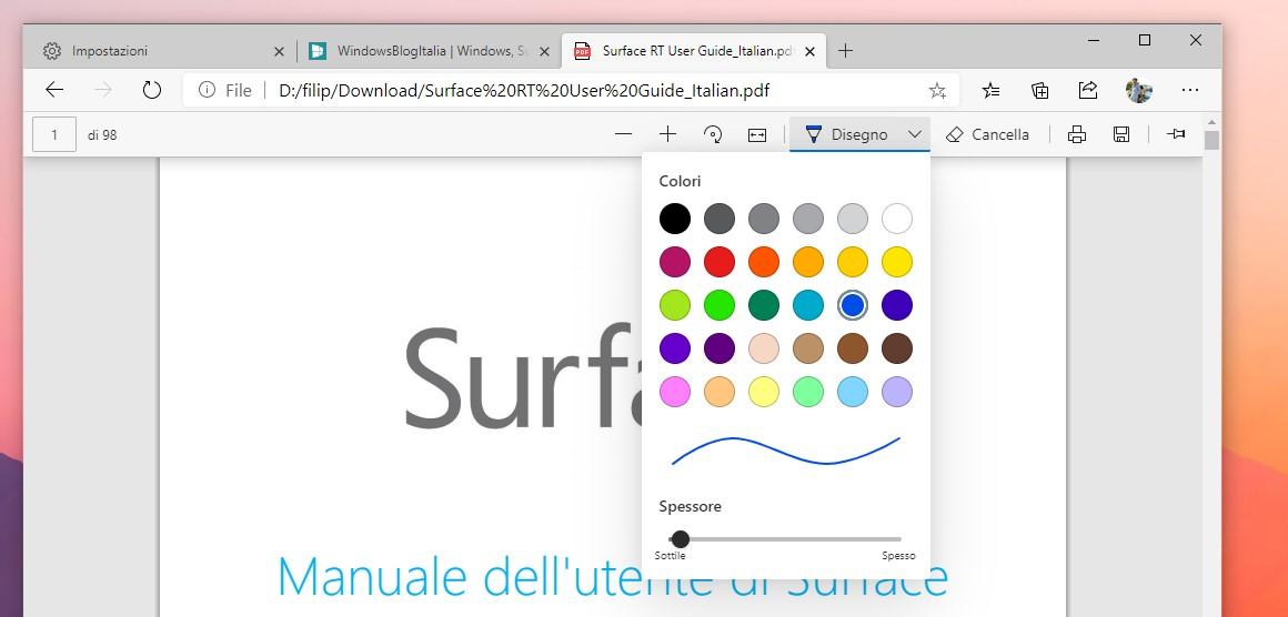 Microsoft Edge nuove opzioni per l'annotazione su PDF