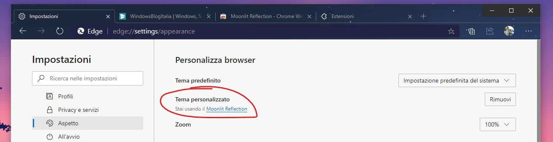 Microsoft Edge tema personalizzato dal Google Chrome Web Store