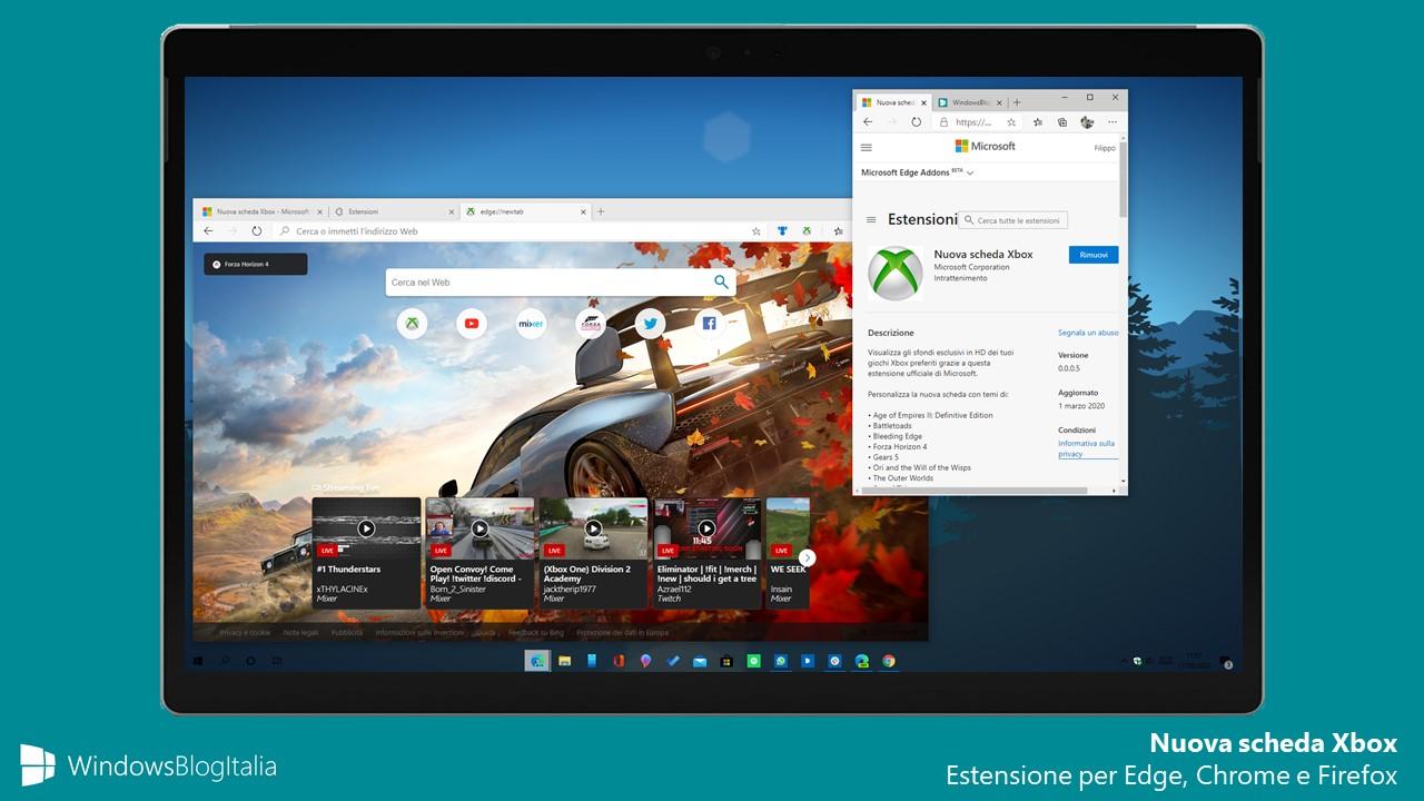 Nuova scheda Xbox estensione per Edge, Chrome e Firefox