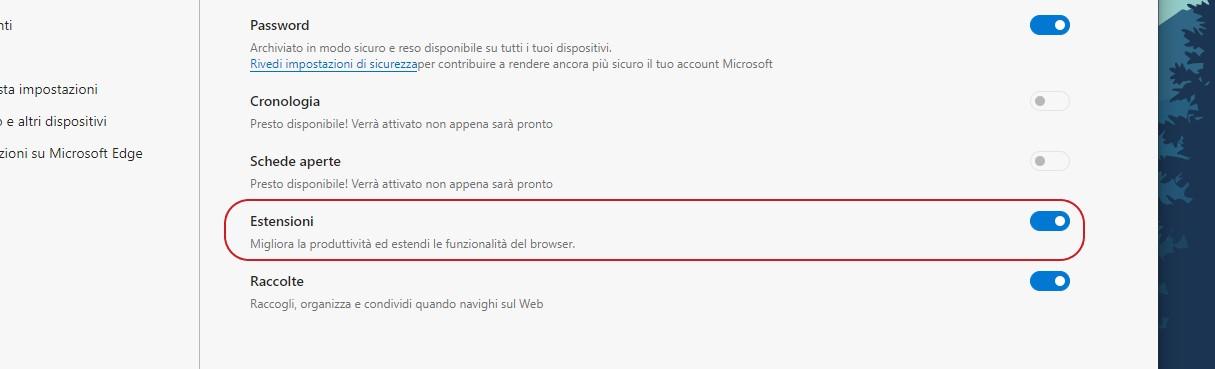 Opzione sincronizzazione estensioni di Microsoft Edge