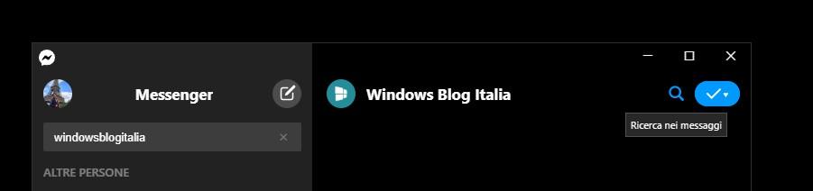 Ricerca nella chat in Messenger per Windows 10
