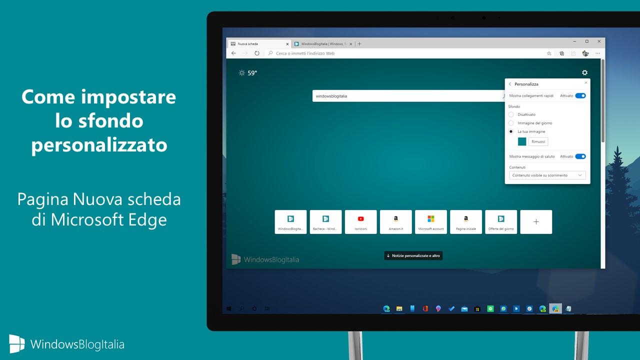 Sfondo personalizzato pagina Nuova scheda di Microsoft Edge