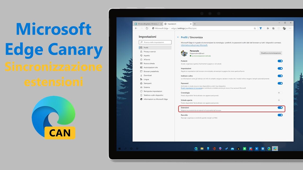 Sincronizzazione estensioni in Microsoft Edge