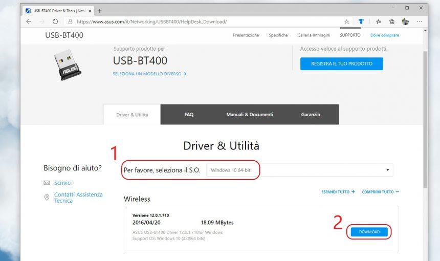 Download driver aggiornati ASUS USB-BT400 per Windows