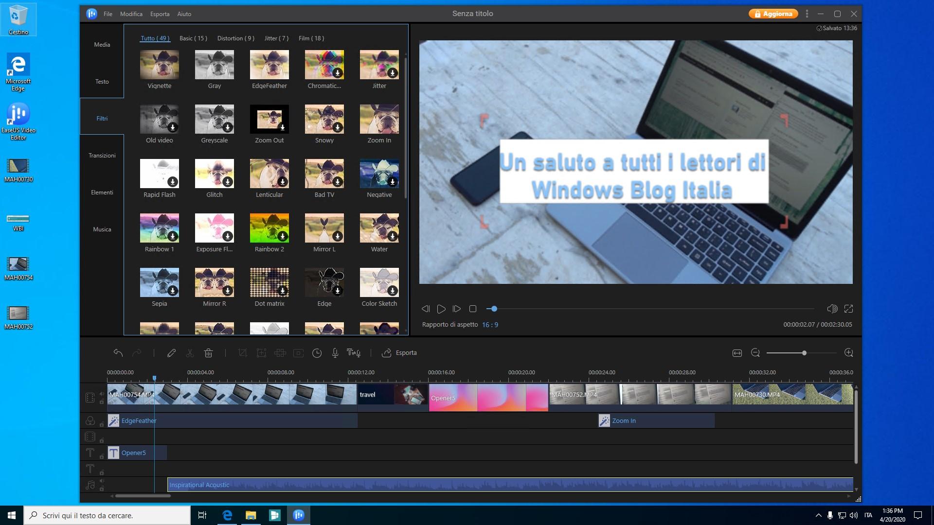 EaseUS Video Editor interfaccia principale di modifica