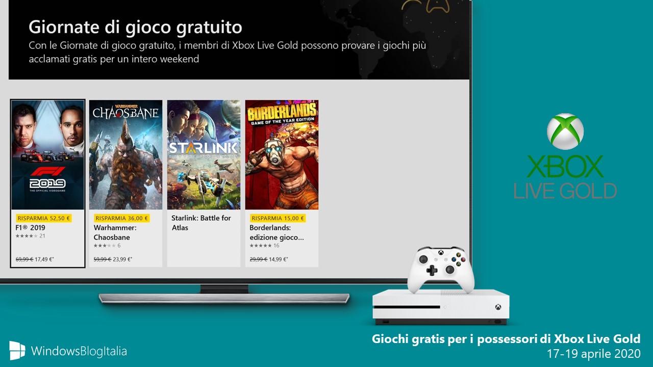 Giochi gratis per i possessori di Xbox Live Gold 17-19 aprile 2020
