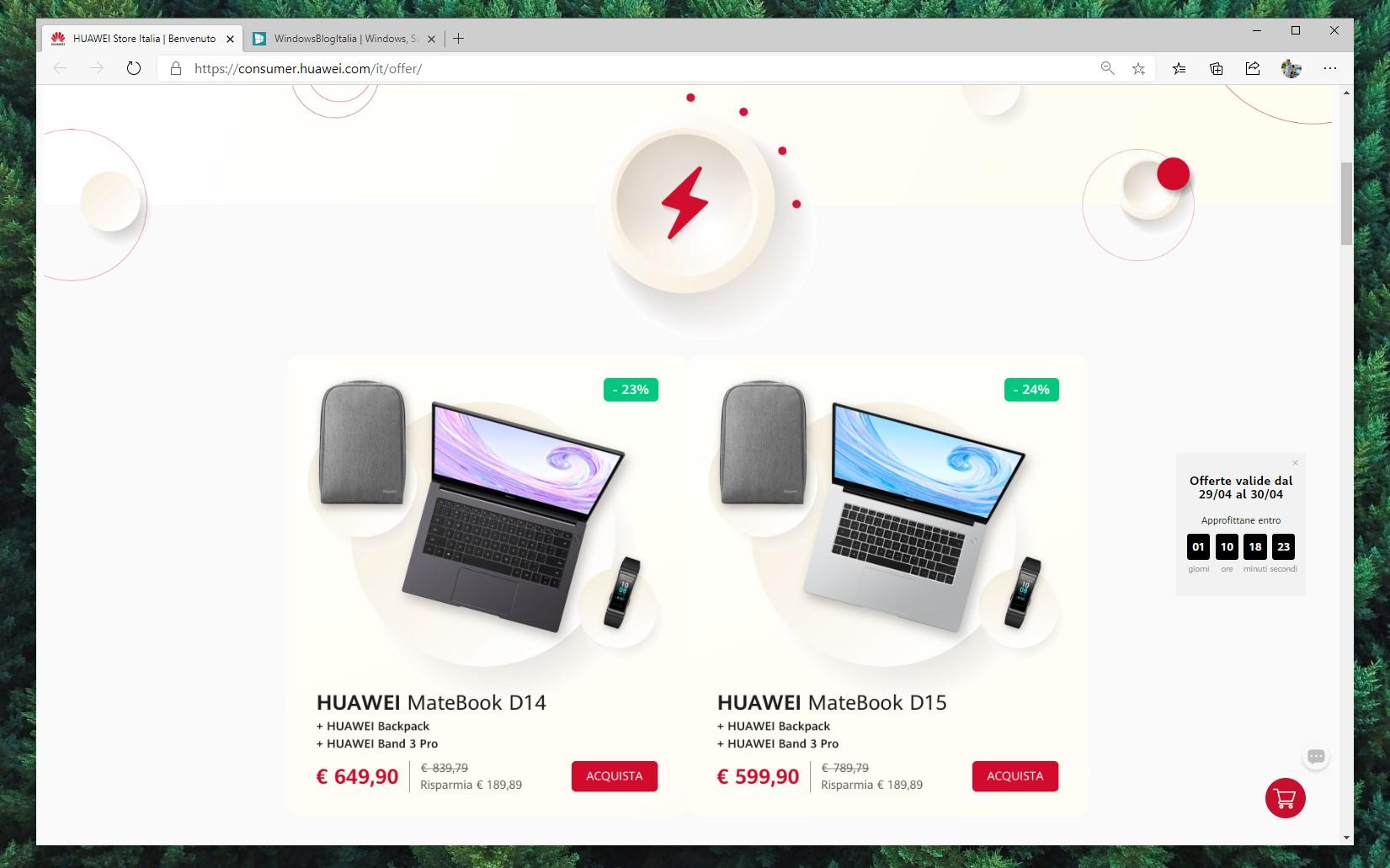 HUAWEI e-store italiano sconti 48 ore aprile 2020