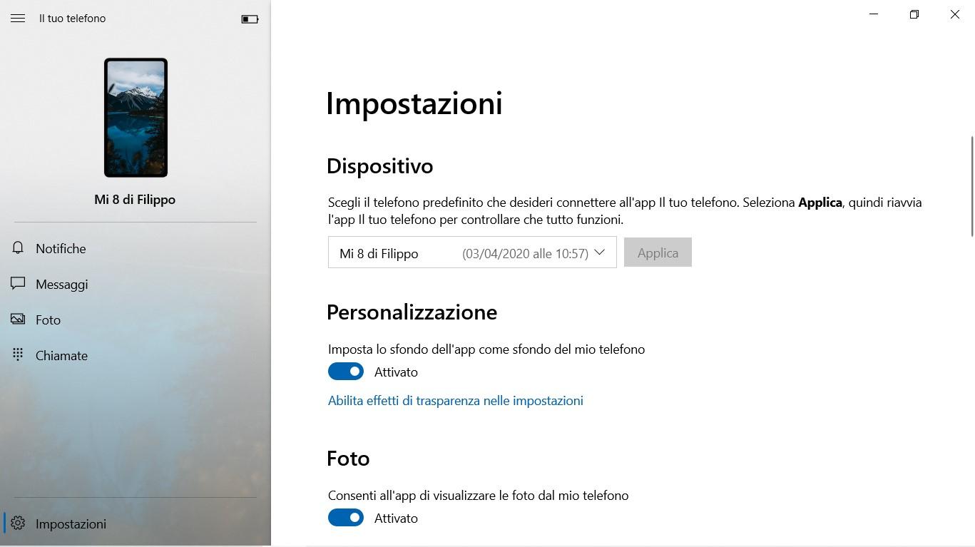 Il tuo telefono per Windows 10 nuovi font nelle impostazioni