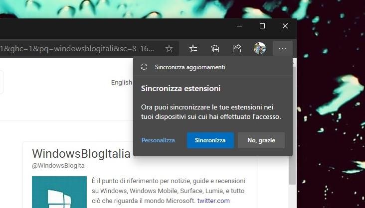 Microsoft Edge 83 sincronizzazione estensioni