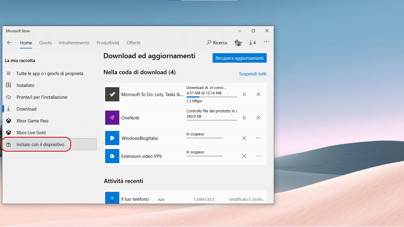 Microsoft Store per Windows 10 sotto-sezione Incluso con il dispositivo